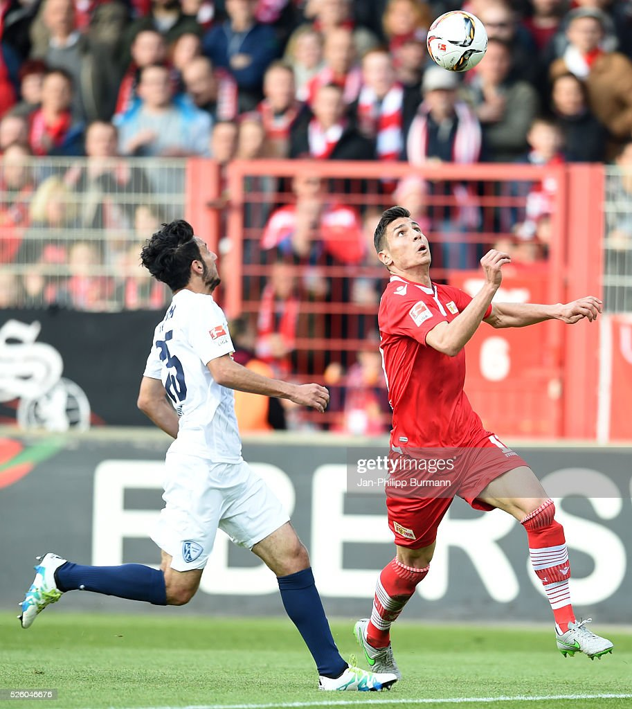 Onur Bulut of VFL Bochum and Damir Kreilach of 1 FC Union Berlin during the game between Union Berlin and dem VfL Bochum on April 29, 2016 in Berlin, Germany.