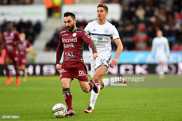 Onur Kaya midfielder of SV Zulte Waregem and Leander Dendoncker pictured during the Jupiler Pro League match between Zulte Waregem and RSCA at...