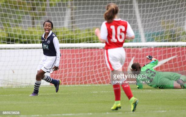 Onyi Echegini of Millwall Lionesses celebrates scoring during the FA Girls' Youth Cup Final between Millwall Lionesses U16 Vs Arsenal Ladies U16 at...