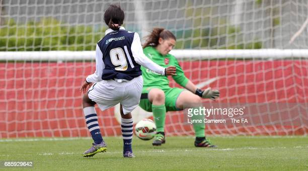 Onyi Echegini of Millwall Lionesses scores during the FA Girls' Youth Cup Final between Millwall Lionesses U16 Vs Arsenal Ladies U16 at St Georges...