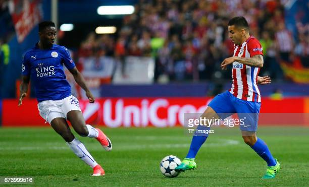 Onyinye Ndidi of Leicester City and Angel Correa of Atletico Madrid battle for the ball during the UEFA Champions League Quarter Final first leg...