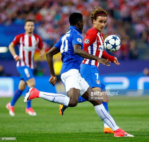 Onyinye Ndidi of Leicester City and Antoine Griezmann of Atletico Madrid battle for the ball during the UEFA Champions League Quarter Final first leg...