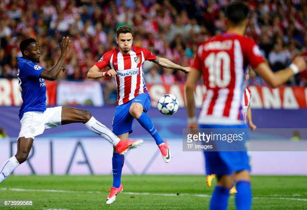 Onyinye Ndidi of Leicester City and Gabi of Atletico Madrid battle for the ball during the UEFA Champions League Quarter Final first leg match...