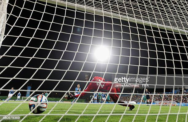 Onyinyechukwu Okeke of Nigeria is beaten by the shot from Patri Guijarro of Spain during the FIFA U17 Women's World Cup Quarter Final match between...