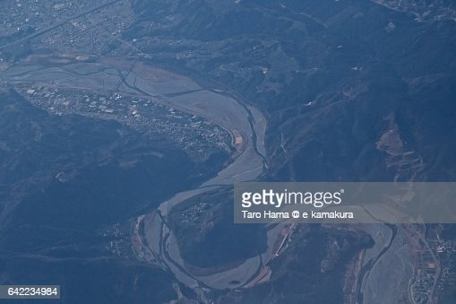 Ooi river aerial view from airplane