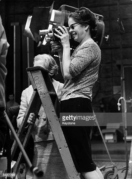 Oona Chaplin filming at Pinewood Studios where her husband Charlie Chaplin is directing the Universal film 'A Countess From Hong Kong' in which their...