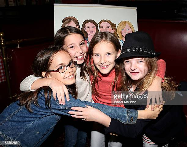 Oona Laurence Milly Shapiro Sophia Gennusa and Bailey Ryon attend a surprise caricature unveiling for the young leads of 'Matilda' at Sardi's on...