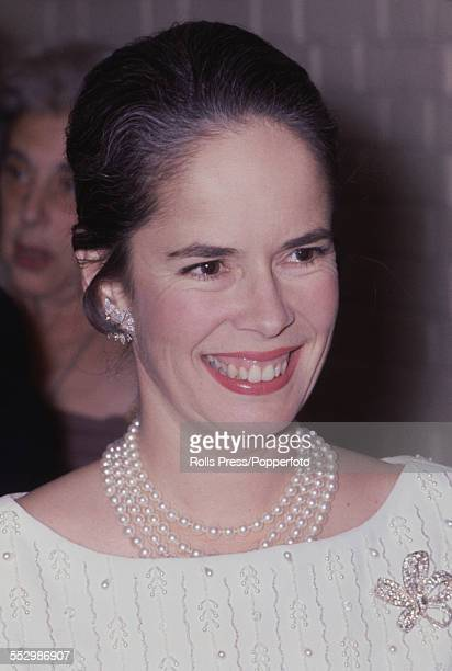 Oona O'Neill American wife of the actor Charlie Chaplin pictured at an event in London circa 1967