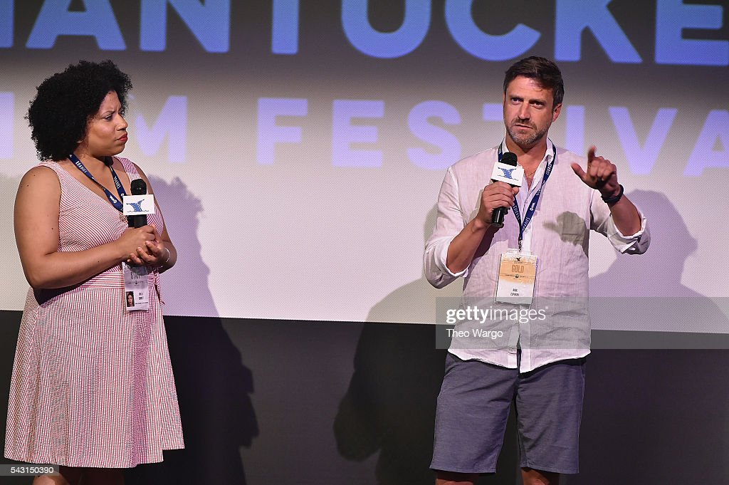 Opal Bennett and <a gi-track='captionPersonalityLinkClicked' href=/galleries/search?phrase=Raul+Esparza&family=editorial&specificpeople=214060 ng-click='$event.stopPropagation()'>Raul Esparza</a> attned a screening of 'Custody' during the 2016 Nantucket Film Festival Day 5 on June 26, 2016 in Nantucket, Massachusetts.