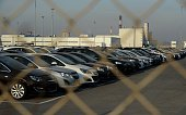 Opel and Chevrolet cars are seen at a parking near the factory of US auto producer General Motors in Shushary outside Saint Petersburg on March 18...
