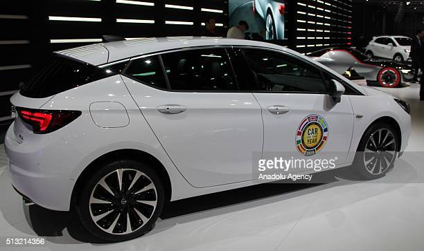 Opel Astra car of the year 2016 is on display during the first press day of the 86th Geneva International Motor Show in Geneva Switzerland on March 1...