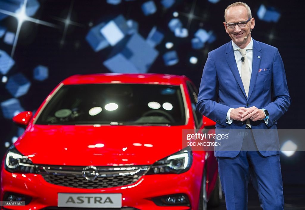 Opel CEO KarlThomas Neumann presents the new Opel Astra at the 66th IAA auto show in Frankfurt am Main western Germany on September 15 2015 Hundreds...