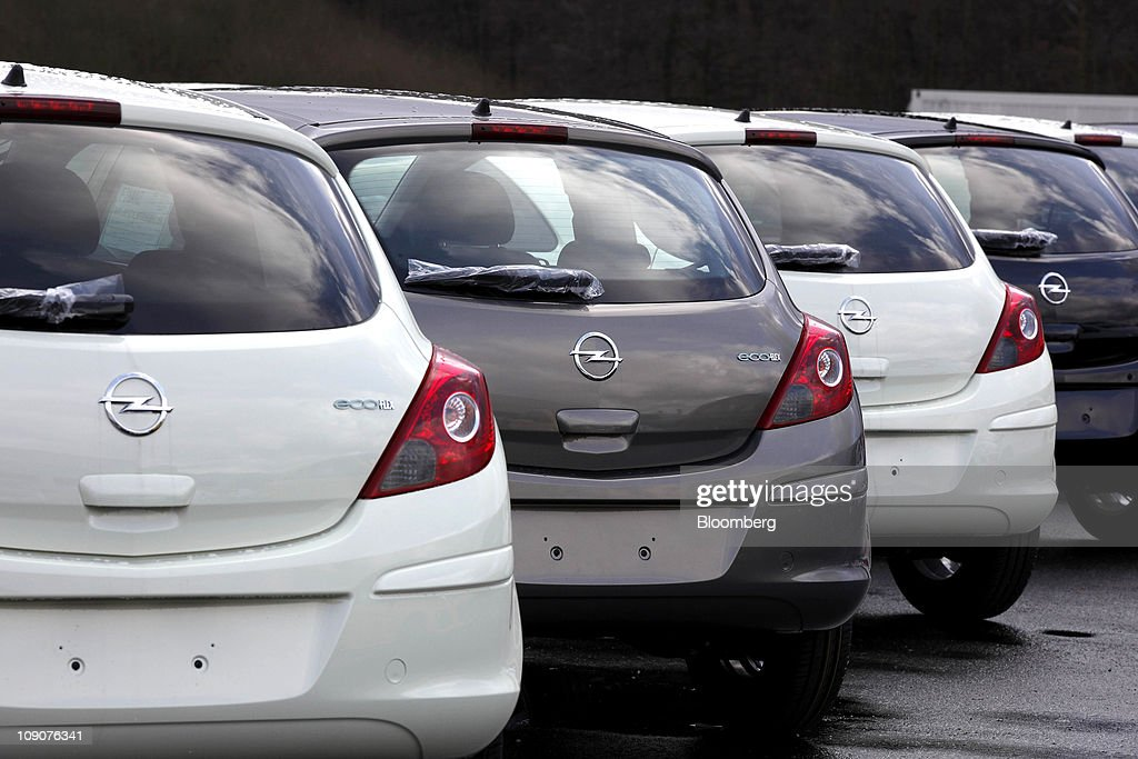 Opel Corsa automobiles sit awaiting shipment outside the General Motor Co.'s Adam Opel plant in Eisenach, Germany, on Friday, Feb.11, 2011. General Motors Co.'s Opel unit may break even this year, excluding restructuring costs, said Nick Reilly, GM's European chief. Photographer: Jochen Eckel/Bloomberg via Getty Images