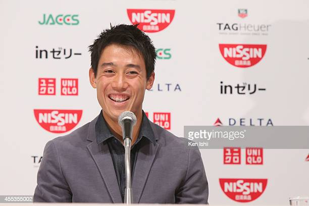 Open 2014 runnerup Kei Nishikori speaks during the press conference upon arrival from the US Open at ANA Crown Plaza Narita on September 13 2014 in...