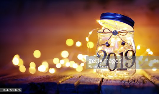 Open 2019 - Christmas Lights In The Jar - Blurred Background : Stock Photo