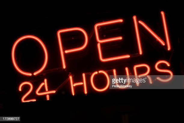 Open 24 Hours Red Neon Sign