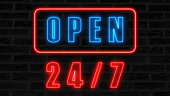 Open 24-7 neon sign, retro style signboard for bar or club, 3d rendering computer generated background