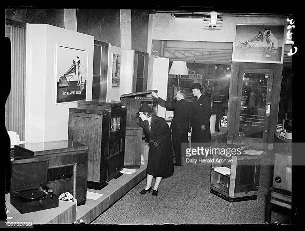 HMV open a new shop 1938 A photograph of customers looking at record players and television receivers in the new 'His Master's Voice' HMV store on...