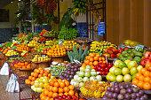 Open air market. Madeira's fruits. Summer day.