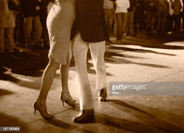 Open air milonga at night