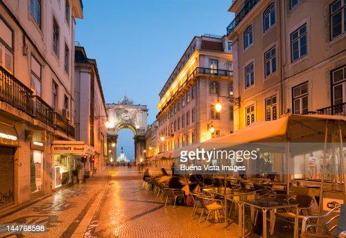 Open air restaurant in Old Lisbon. : Stock Photo
