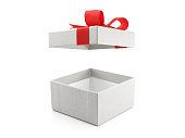 close up open and empty white gift box with red ribbon bow