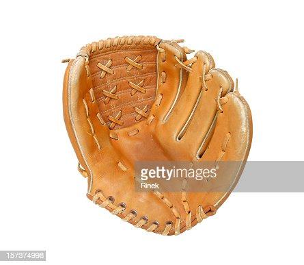 Open baseball glove on white background