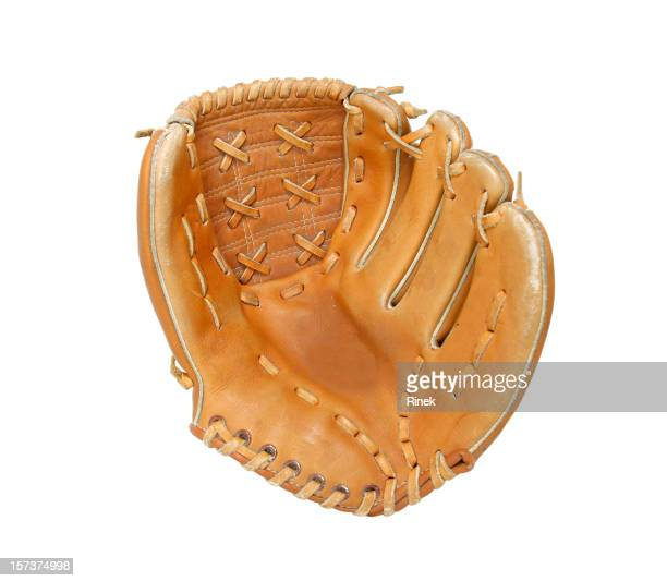 Open baseball glove on white background