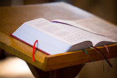 Bible on the church pulpit.