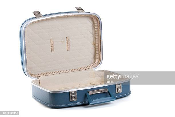 Open blue suitcase