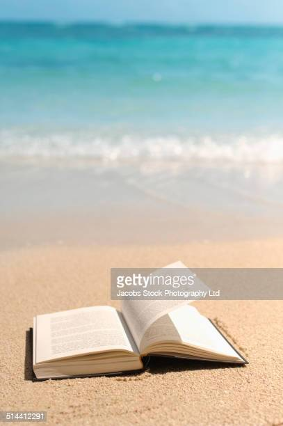 Open book in sand on tropical beach