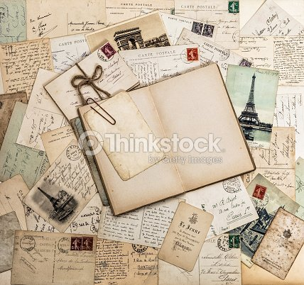 Open Book Old Letters And Postcards Travel Scrapbook France Paris