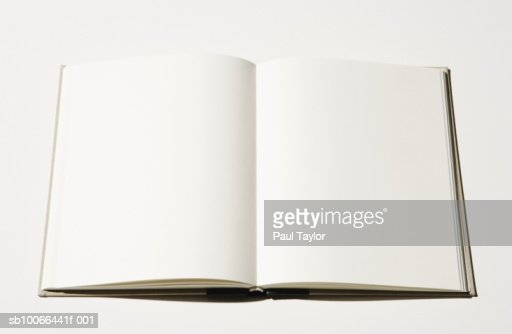 Open book with blank pages, close-up