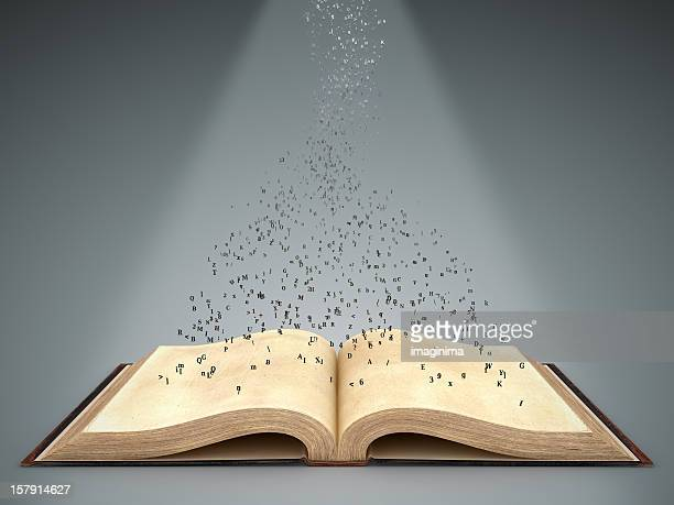 Open Book with Flying Letters