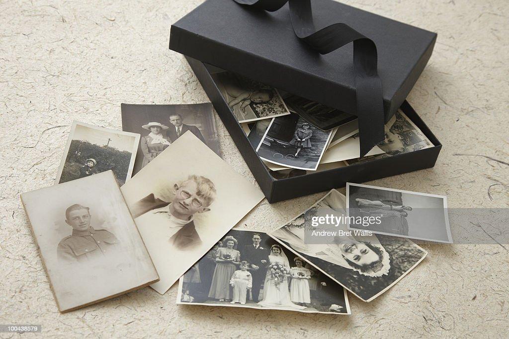 open box of vintage family photographs : Stock Photo