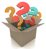 Open box with colour questions. Isolated 3D image in the design of information related to creativity