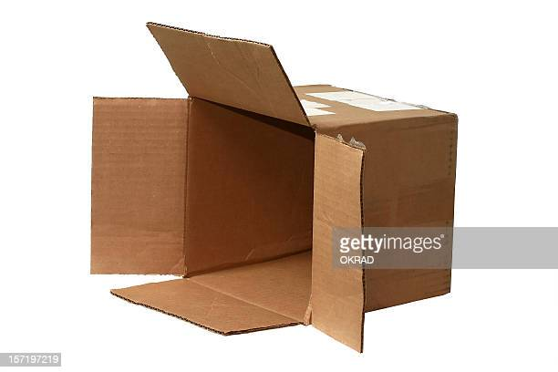 open brown cardboard shipping Box on side
