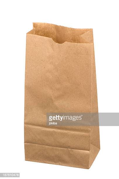Open brown paper lunch bag on white background