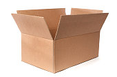 Horizontal image of a new empty corrugated cardboard box. The box is open and is on a white background.