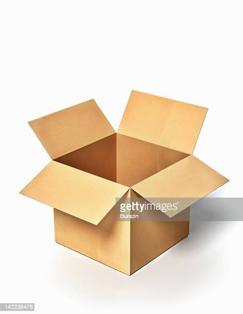 Open cardboard freight box