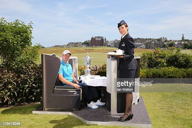 Open Champion Justin Rose enjoys the comforts of his sponsor's British Airways First Class seat in St Andrews Scotland during a layover before...