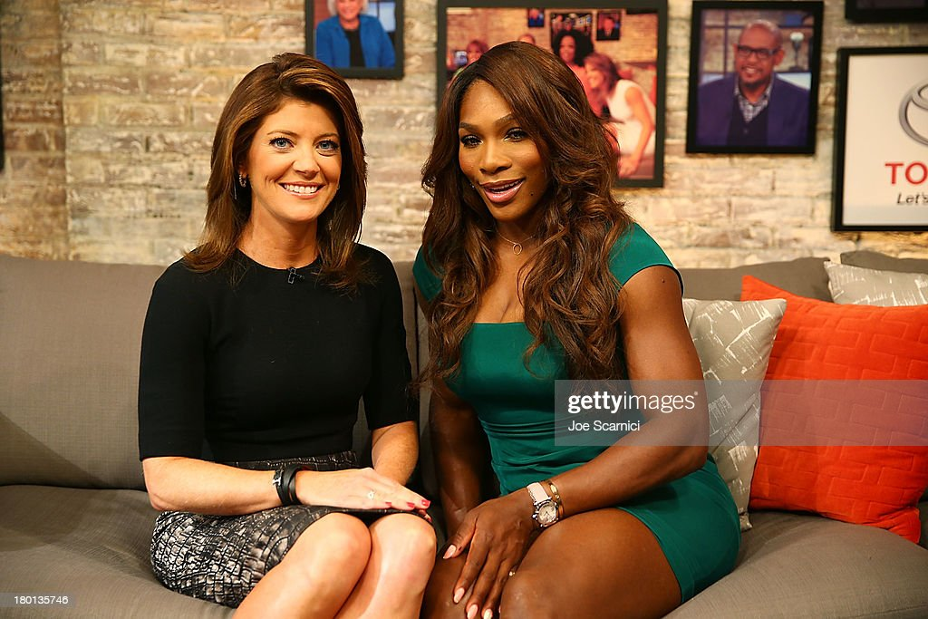 Open Champion <a gi-track='captionPersonalityLinkClicked' href=/galleries/search?phrase=Serena+Williams&family=editorial&specificpeople=171101 ng-click='$event.stopPropagation()'>Serena Williams</a> of the United States poses for a photo with 'CBS This Morning' star Norah O'Donnell on her New York City Trophy Tour on September 9, 2013 in New York City.