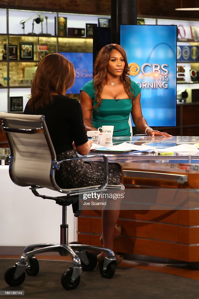 Open Champion <a gi-track='captionPersonalityLinkClicked' href=/galleries/search?phrase=Serena+Williams&family=editorial&specificpeople=171101 ng-click='$event.stopPropagation()'>Serena Williams</a> of the United States talks on set of 'CBS This Morning' on her New York City Trophy Tour on September 9, 2013 in New York City.