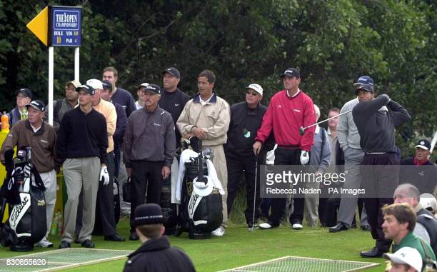 Open Champion Tiger Woods drives off the 10th tee watched by playing partners Adam Scott and Thomas Bjorn at Lythan St Annes