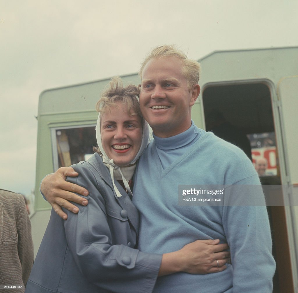 British Open 1966 at Muirfield Golf Links in Gullane East Lothian Scotland held 6th 9th July 1966 Pictured Jack Nicklaus with his wife Barbara after...
