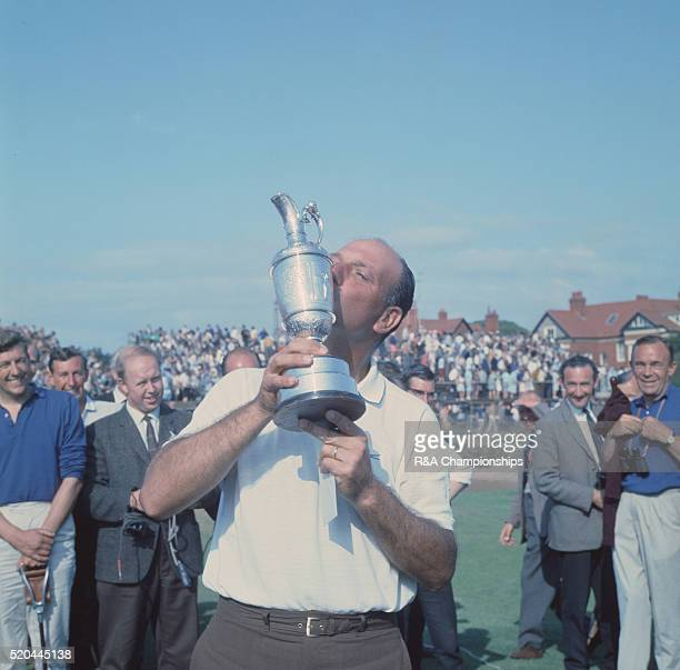 Open Championship 1967 at Royal Liverpool Golf Club Hoylake England held 12th 15th July 1967 Pictured winner Roberto de Vicenzo kisses his trophy...