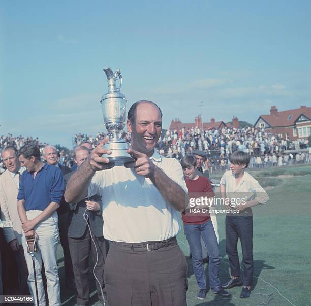Open Championship 1967 at Royal Liverpool Golf Club Hoylake England held 12th 15th July 1967 Pictured Winner Roberto de Vicenzo with his trophy 15th...