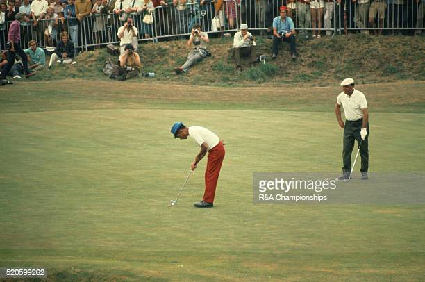 Open Championship 1971 at Royal Birkdale Golf Club in Southport England held 7th 10th July 1971 Pictured Lu LiangHuan watched by Roberto De Vicenzo
