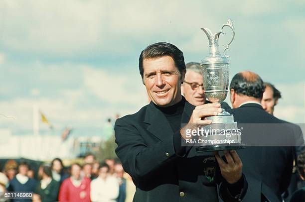 Open Championship 1974 at Royal Lytham St Annes Golf Club in Lancashire England held 10th 13th July 1974 Pictured Gary Player with trophy 13th July...