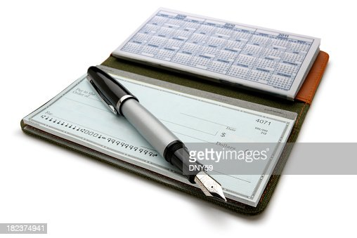 Open checkbook and fountain pen on white background